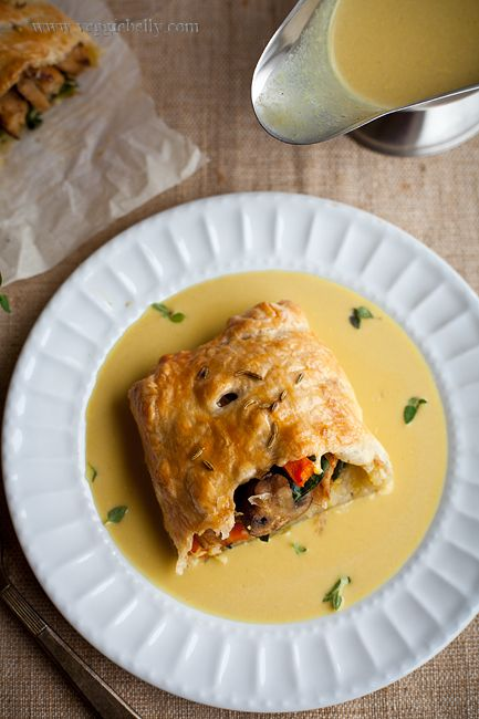 Thanksgiving Wellington with Fennel Braised Seitan, Thyme Roasted Mushrooms and Kale