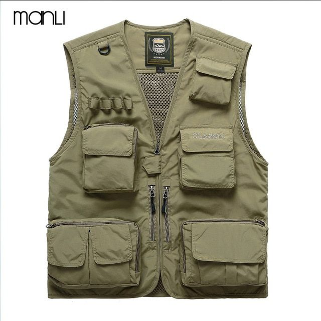 a2f6b8b4722ff MANLI Men Outdoor Fly Fishing Vest Summer Hiking Hunting Multi-pocket  Waterproof Waistcoat Professional Photography Jackets Review