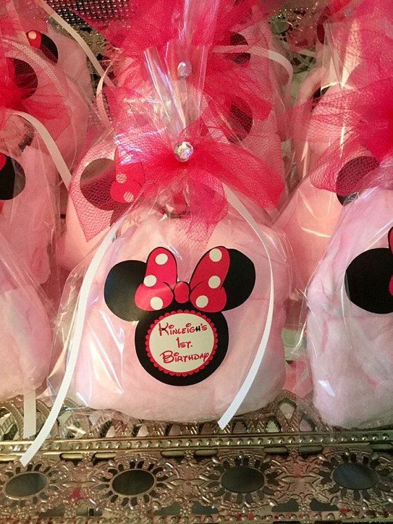 Minnie Mouse Cotton Candy Favors One Dozen by KnowAnOrdinaryMom