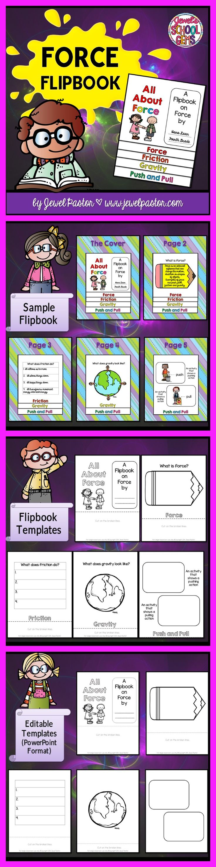 Force and Motion FORCE AND MOTION FLIPBOOK Force and motion is made easy with this resource All About Force: A Flipbook on Force. This packet is a 20-page resource that consists of foldables/templates that can be used to create a flipbook on force and motion. It can be used to summarize your students' key learnings or understanding.