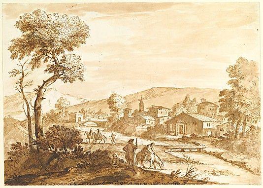 Anton Maria Zanetti the Elder, Italian, 1680 - 1767, Landscape with a Town by a River