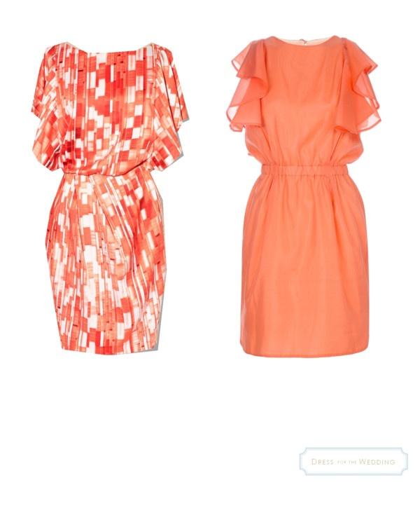 Coral Flutter-Sleeve Dresses for Wedding Guests