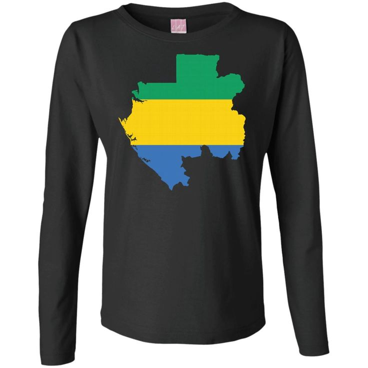 Gabon flag Ladies' Long Sleeve Cotton TShirt