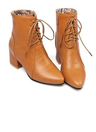 Zapatos Botas De mujer Botas al tobillo Cuero Tacón ancho  - Floryday @ floryday.com