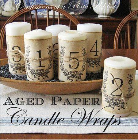 Aged Paper Candle Labels
