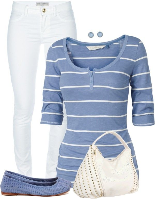 Casual Outfit: Casual Outfit, Summer Outfit, Day Outfit, White Outfit, Fashionista Trends, White Pants, Styles, Blue Stripes, Ballet Flats