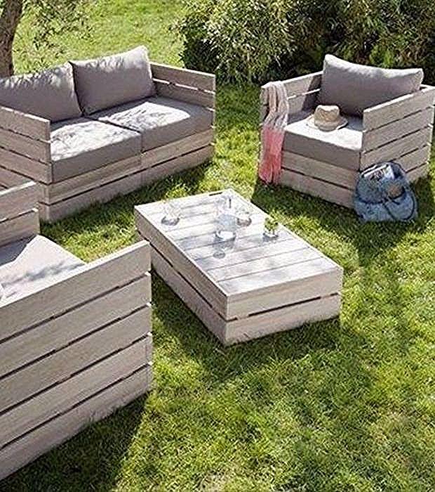Photo Salon De Jardin En Palettes En Bois Pallet Garden Furniture Pallet Patio Furniture Pallet Furniture Designs