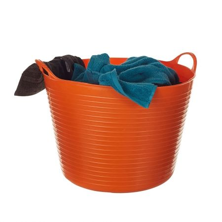 Tubtrug 38 Litre Orange From the garage to the laundry, playroom to the kitchen, the 38 Litre Tubtrug in Orange is a household must have.  Built to last, Tubtrugs are made from durable, virtually indestructible plastic. Designed with integrated handles and flexible, deep sides these 'original flexible tubs' are easy to clean and available in a range of bright colours and sizes. Available from Howards Storage World.