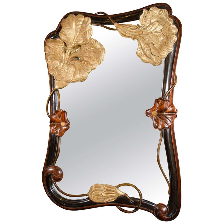 Rare and Outstanding Art Nouveau Mirror in Hand Carved Mahogany | From a unique collection of antique and modern wall mirrors at http://www.1stdibs.com/furniture/mirrors/wall-mirrors/