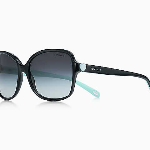 Tiffany Hearts™ square sunglasses in black and Tiffany Blue acetate.  Available from James Doyle
