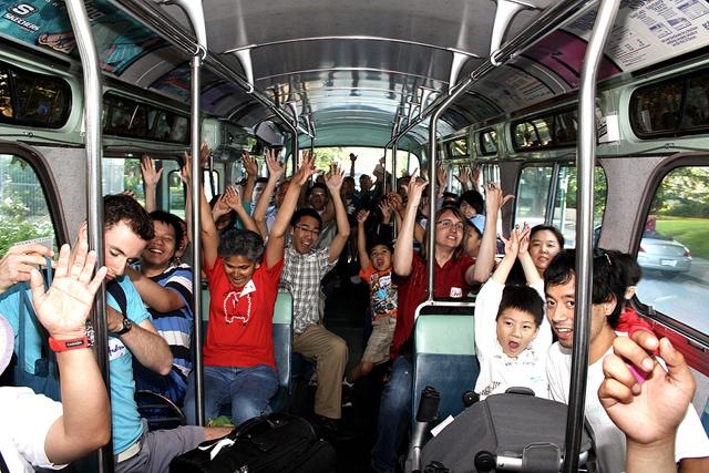 A vintage bus full of transit fans during I Love Transit Night 2012.