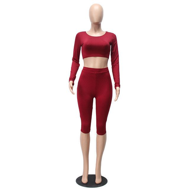 Liooil Women Two Piece Bodycon Jumpsuit New 2017 Winter Knee Length Long Sleeve Black Sexy Club Elegant Rompers And Jumpsuits