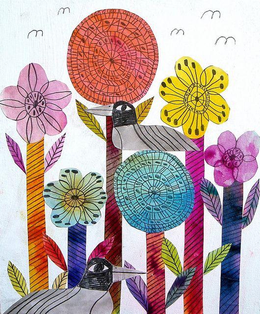 Thin sharpies and liquid watercolors