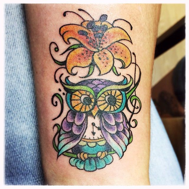 Amy's Owl & Tiger Lily Tattoo by Margo Venomous at Holy City Tattooing Collective in Charleston, SC