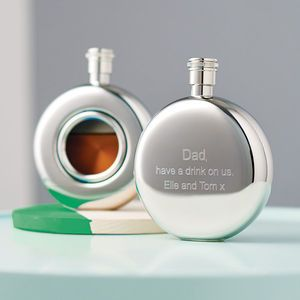 Personalised and Engraved Round Window Hip Flask - shop by occasion