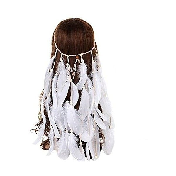 ZWZCYZ Women Girl Indian Vintage Boho Hippie Removable White Feathers... ($36) ❤ liked on Polyvore featuring accessories, hair accessories, white feather headband, headband hair accessories, vintage headbands, bohemian headbands and hippie headbands
