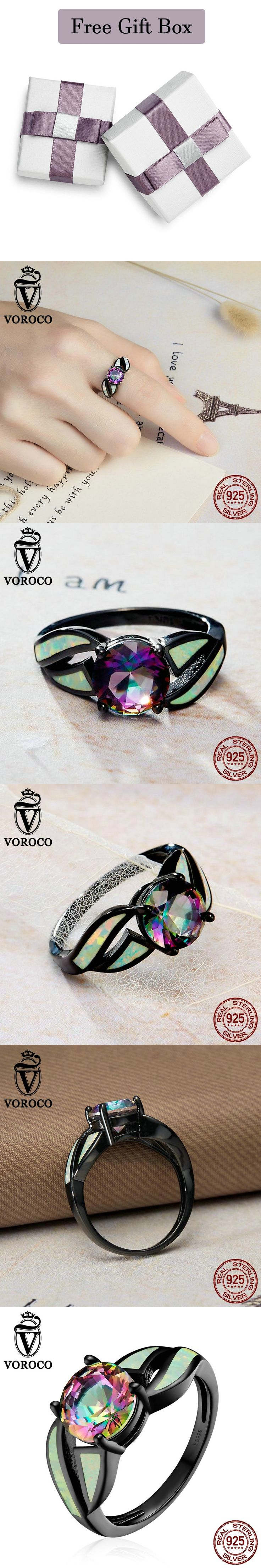 Colorful Glass & Opal Gemstone Genuine Authentic 925 Sterling Silver Paryt Women Ring Fine Jewelry VOROCO