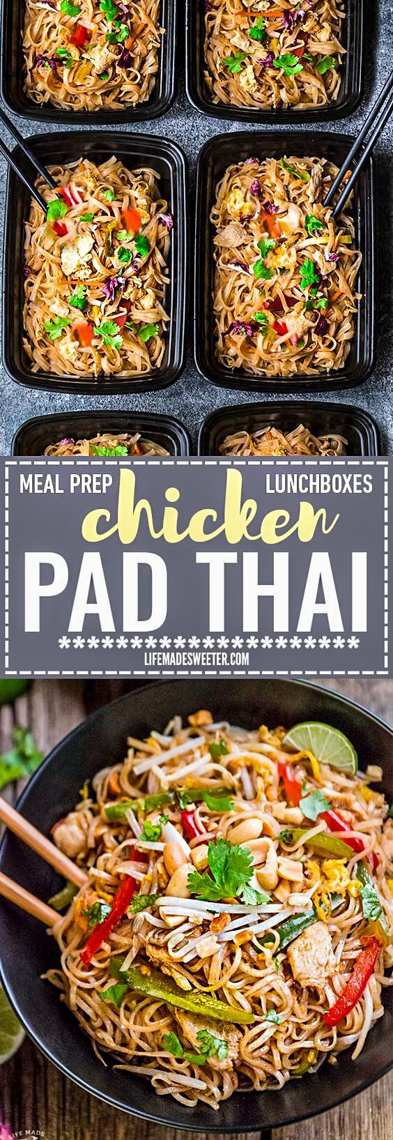 Easy and Authentic Chicken Pad Thai makes the perfect simple weeknight meal and great for Sunday meal prep and leftovers are great for school lunchboxes and work lunch bowls. Best of all, this recipe