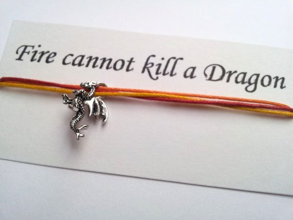 Game of Thrones Fire Cannot Kill a Dragon friendship bracelet on waxed cotton cord