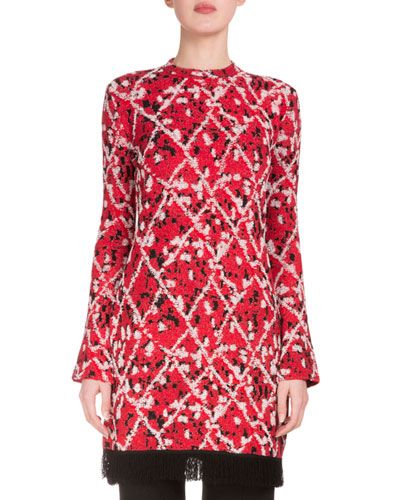 Proenza+Schouler+Long+Sleeve+Intarsia+Split+Hem+Tunic+Red+Combo+|+Top,+Cloak+and+Clothing