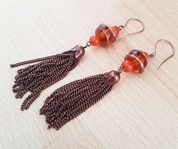 Dangly Lampwok glass earrings, Lampwork tassel earrings, Orange bead earrings, Female gift, Antique copper earrings, Long drop earrings