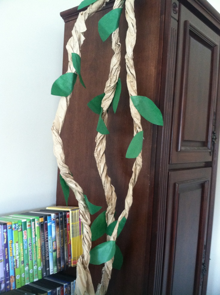 Classroom Rainforest Ideas ~ Vines out of long brown paper cut the in three
