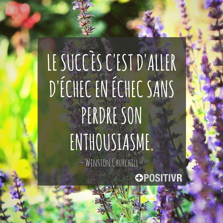 """""""Le succès c'est d'aller d'échec en échec sans perdre son enthousiasme."""" Winston Churchill  #succes #echec #enthousiasme #citation #citations #france #quote #followme"""
