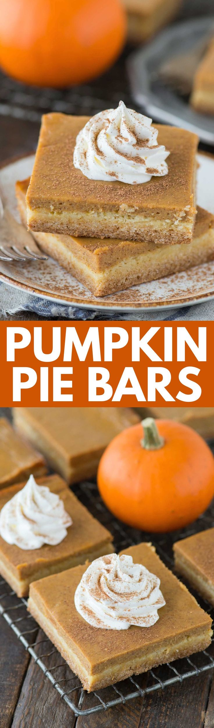 Easy pumpkin pie bars with a classic pumpkin pie filling and a 2 ingredient cake mix crust. Made in a 9x13 inch pan, these pumpkin pie bars are amazing!