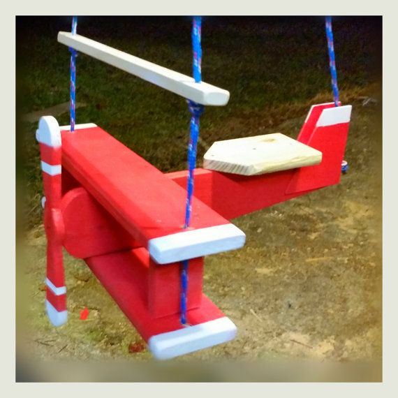 Airplane Swing red tree swing porch swing child by TheArtofTimber