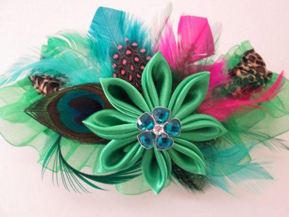 Leopard Wedding Garter, Kelly Green PROM Garter, AppleGreen Kanzashi Flower Garter, Peacock Garter, Edgy Statement, Masquerade Ball, Venice NakedOrchidGarters