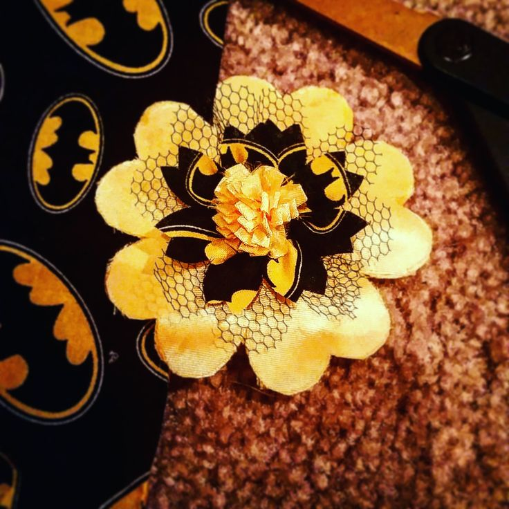 Batman Inspired Flower Hair Clip by OptimisticOut1ook on Etsy