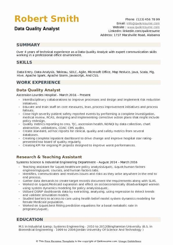 Healthcare Data Analyst Resume New Data Quality Analyst Resume Samples In 2020 Data Analyst Resume Summary Good Resume Examples