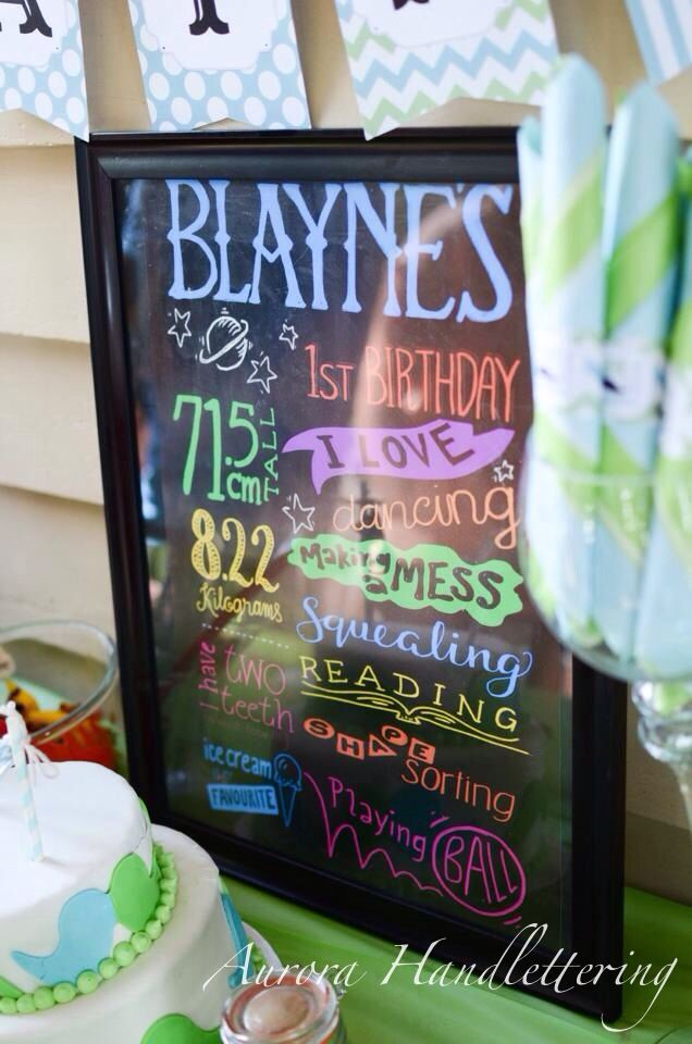 Digital lettering / emailed and printed across Australia / Blayne's First Birthday / 9.2.2014 / Aurora Handlettering