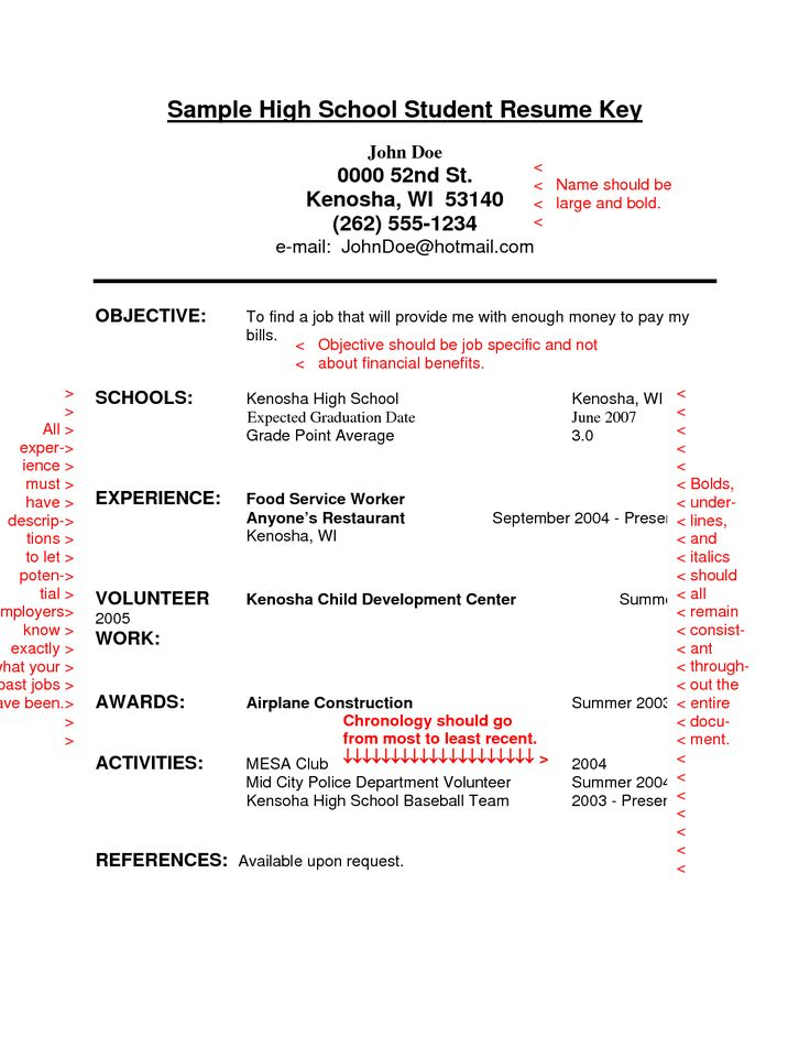 High School Resume Pinterestu0027te hakkında 1000u0027den fazla fikir - resume for a highschool student with no experience