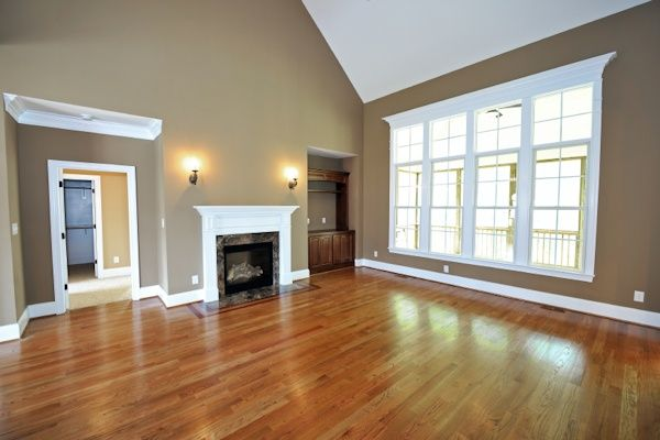 living room color-- this is nice. -- White, brown, tan/grayish color, and the warmth from the lights.
