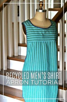 Men's shirt apron using backside of shirt for the front and crisscrossing in back. Video tutorial.