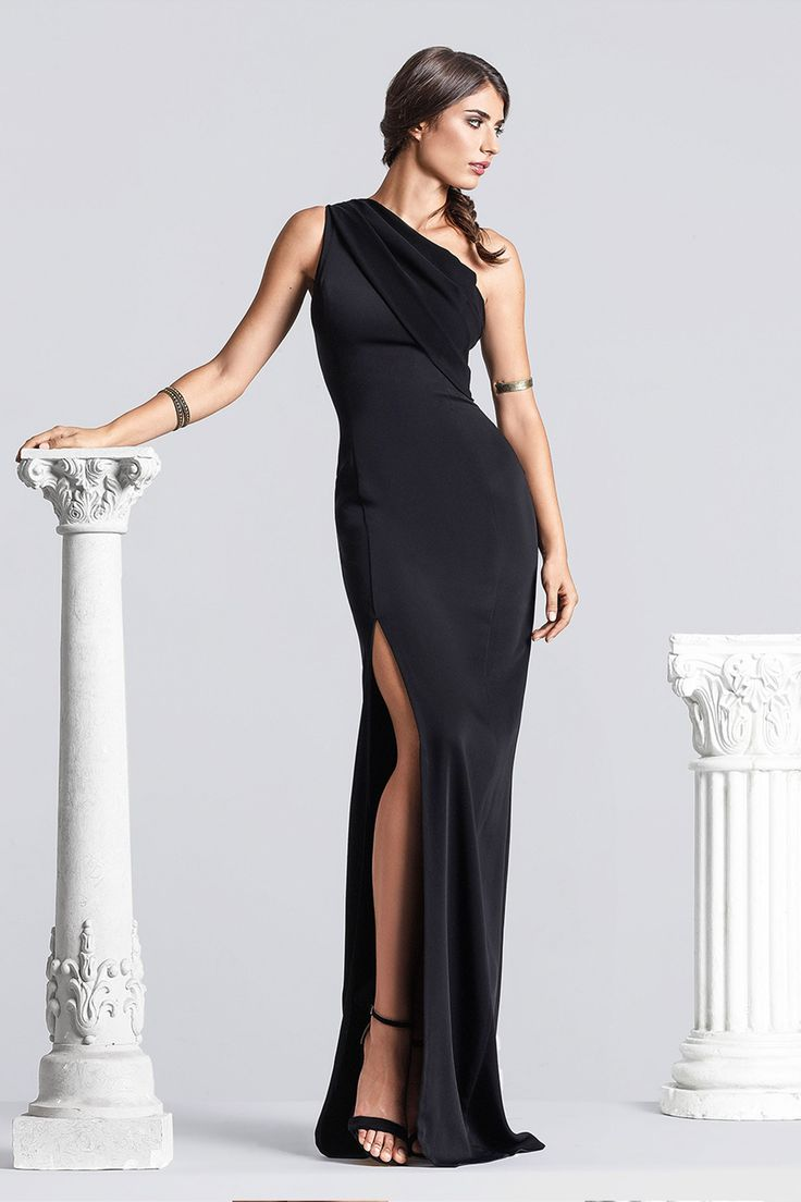 CRISTALLINI SKA512 -  Stretch-crepe  Mermaid, flared hem, partially lined, front skirt slit, train Hook and fastenings zip at back Floor-length Dry clean Shown color: black