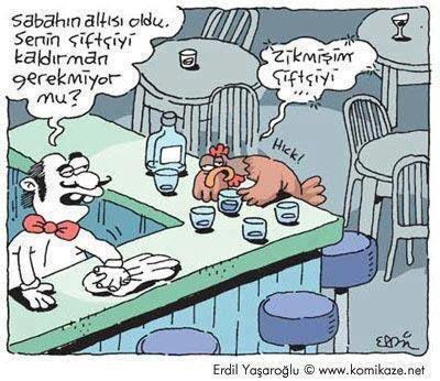 Komik Karikatürler: Sarhoş Horoz Karikatürü Erdil Yaşaroğlu