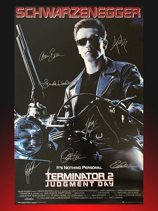 TERMINATOR 2: JUDGMENT DAY MOVIE POSTER SIGNED BY CAST