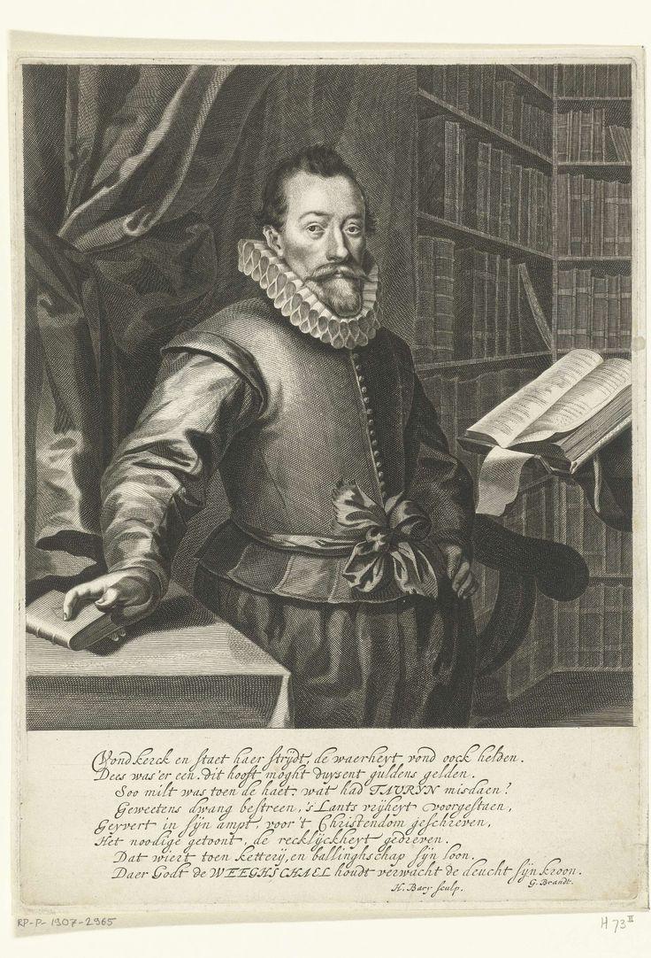 Hendrik Bary | Portret van Jacobus Taurinus, Hendrik Bary, Geeraert Brandt (I), 1657 - 1707 | Portret van Jacobus Taurinus, staand aan een lessenaar in een bibliotheek. Onder het portret een vers van acht regels in het Nederlands.