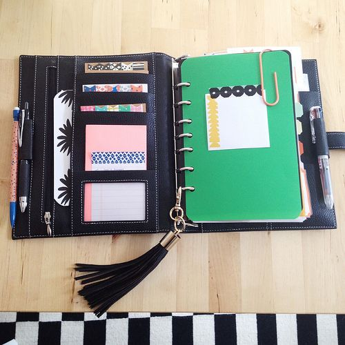 ashley g filofax. Green page lifter made from a cut down dollar store pastil divider