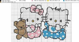 Free Hello Kitty Babies Cross Stitch Chart or Hama Perler Bead Pattern