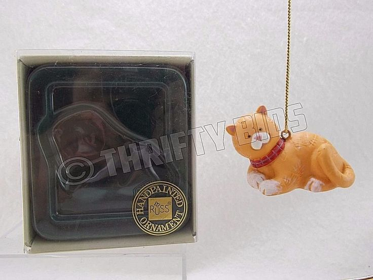 Russ 16879 Wags to Whiskers Brown Tabby Cat Handpainted Christmas Ornament #Russ