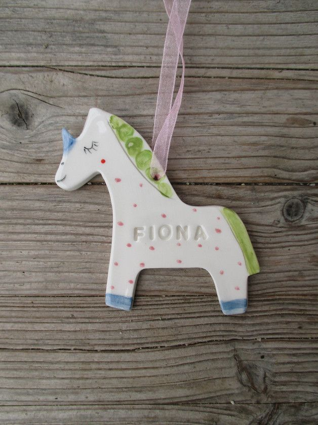 Other – Unicorn Ornament with name,personalised gift – a unique product by TatjanaCeramics on DaWanda