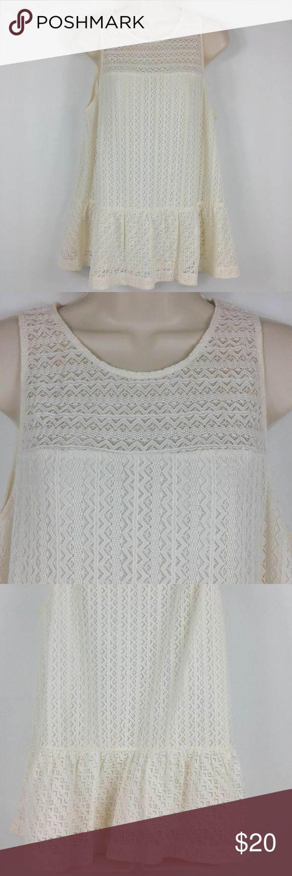 """Ann Taylor LOFT White Crochet Lace Top Cute white sleeveless top by Ann Taylor. This item is in really nice used condition. Note measurements to assure proper fit.  Size: Large Measurements Chest (pit to pit): 20"""" Height (back of collar to hem): 26"""" Ann Taylor LOFT Tops Blouses"""