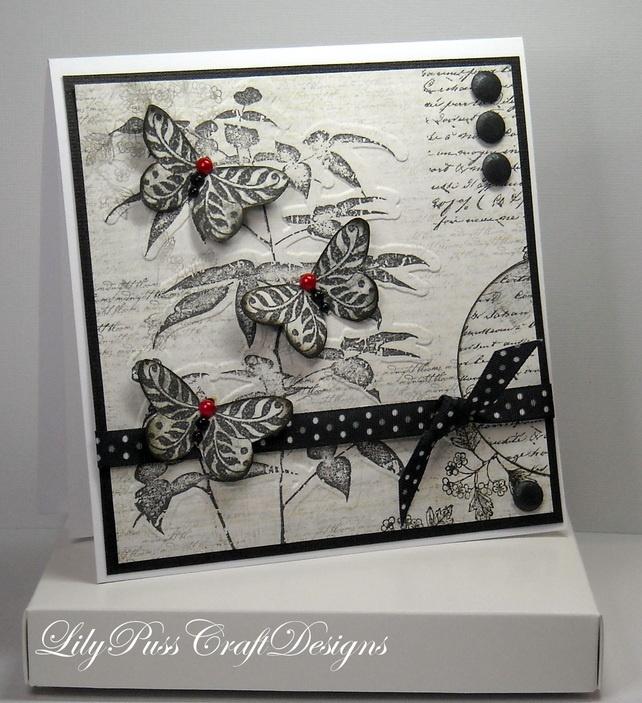craft die hand made cards | Elegant Black & White Butterfly Handmade Card - Folksy