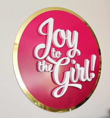 "Available on Ebay  HERE --->>> http://ebay.to/2hBndbW #HUGE Round ""Joy To The #Girl"" #Pink and #Gold #Girly #Ulta #Retail #Sign #Bedroom #Decor #Ebay"