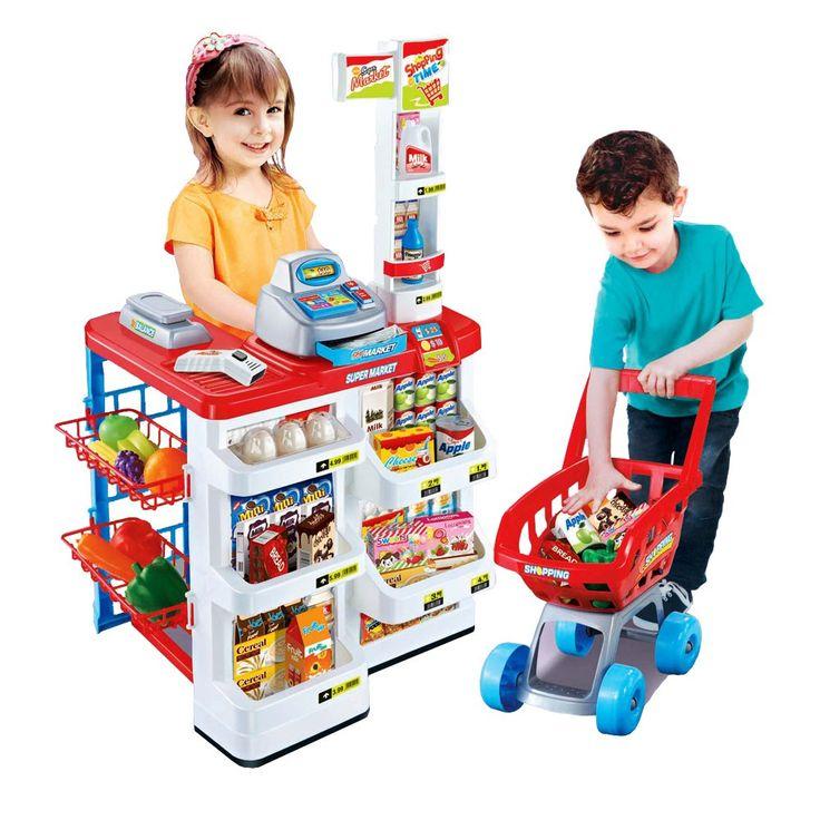 Super market stand set, untuk bermain sikecil lengkap dengan produk display, cahs register, timbangan, dan perlengkapan belanjaan lainnya. ukuran 48x41x82cm