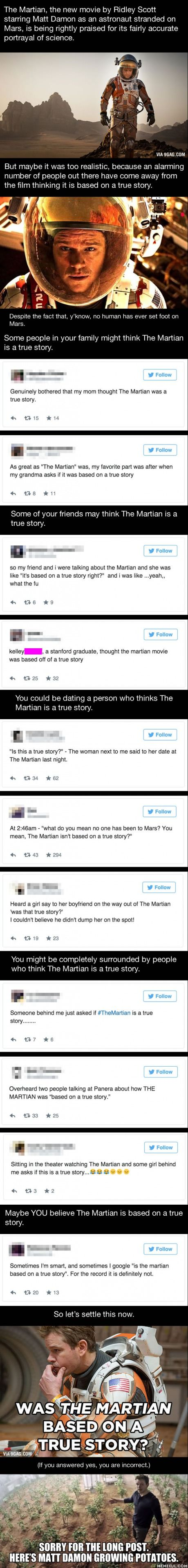 An Alarming Number Of People Think 'The Martian' Is Based On A True Story