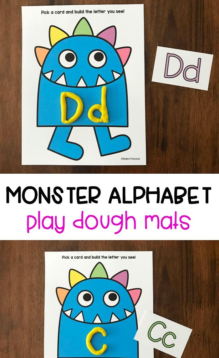 Love these free monster alphabet playdough mats! A fun, free way for kids to work on letter sounds, abc identification and alphabet shaping with preschool kids! #preschool #abcfun
